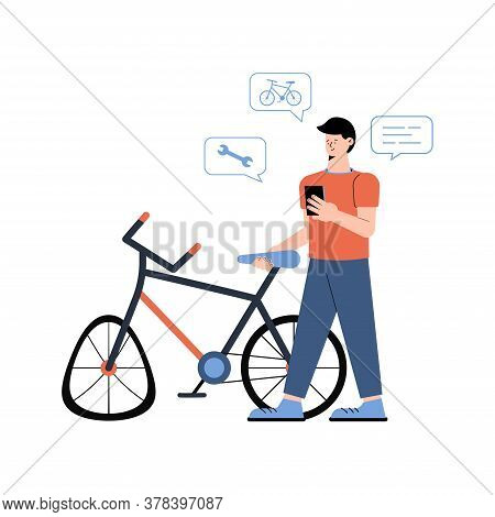 Broken Bike And A Young Man Nearby Calls With Smartphone A Mobile Bicycle Repair Service Isolated On
