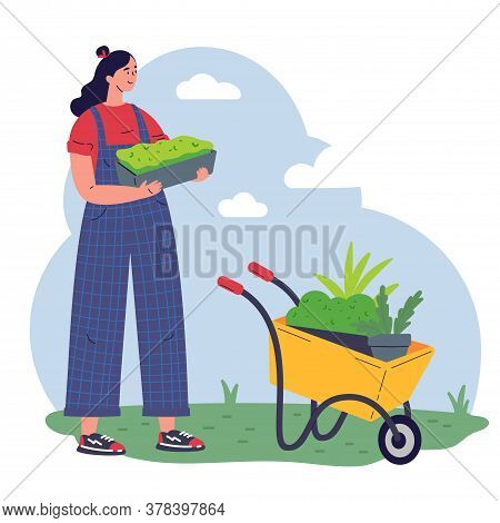 Girl Gardener With Equipment And A Pot With Greenery Working Flat Vector Illustration.young Woman Wi
