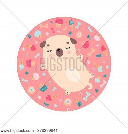 Sleeping Little Pug Dreaming About Food. Hand Drawn Doodle Illustration Of Cartoon Doggie. Colorful