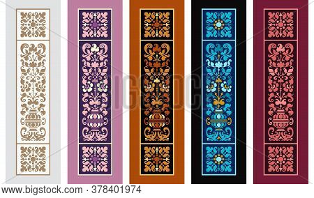Set Of 5 Abstract Vector Decorative Ethnic Bookmarks