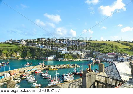 Mevagissey, Cornwall, England / Uk - July 5, 2020: View Of Mevagissey Harbour On A Sunny Summer Day
