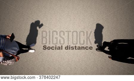 Concept or conceptual 3d illustration of two women meeting following social distance guidelines on a wooden floor background. A metaphor for the change in company relations during the lockdown