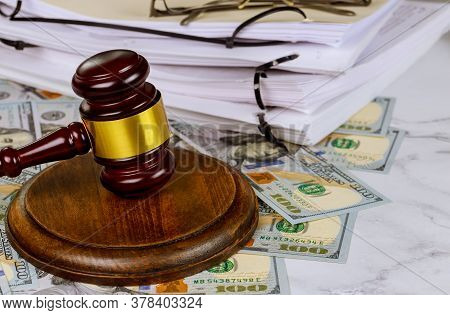 Workplace Legislation Office Judges Gavel Symbol On File Folder With Working Law Document