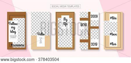 Modern Stories Vector Background. Online Shop Rich Vip Invitation Advert. Blogger Trendy Border, Soc