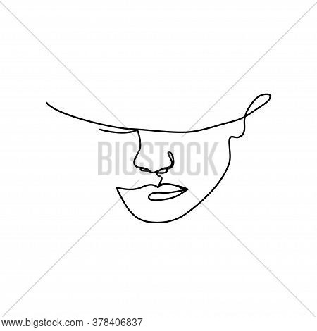 Linear Art Of A Female Face With A Headdress. Fashion Concept, Minimalism Of Female Beauty. Vector I