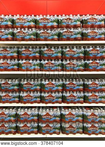 Alameda, Ca - June 29, 2020: Grocery Store Shelf With Bottles Of Water. Arrowhead Brand 100 Percent