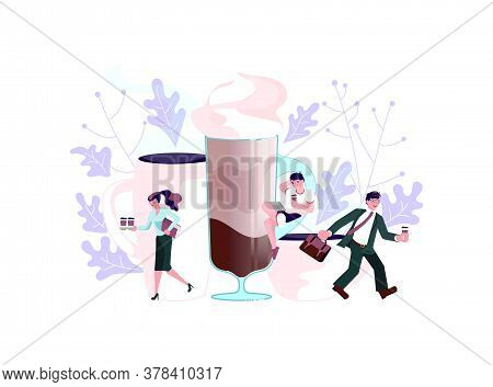 Coffee Shop With Tiny People And Large Pot And Cup Of Coffee. Concept Of Coffee Break At Work, Coffe