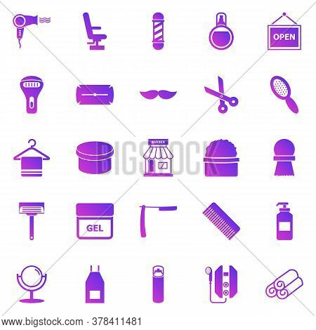 Barber Gradient Icons On White Background, Stock Vector