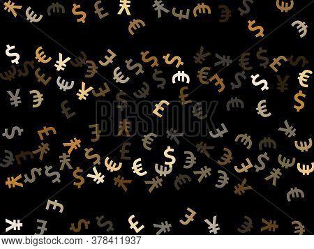 Euro Dollar Pound Yen Metallic Icons Flying Money Vector Illustration. Sale Backdrop. Currency Picto