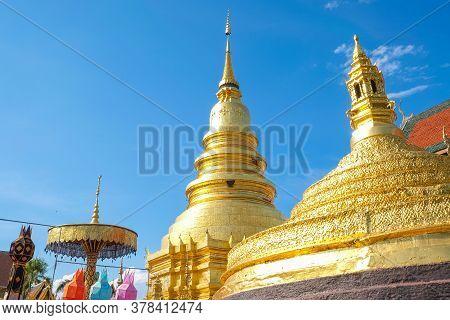 Wat Phra That Hariphunchai An Iconic Buddhist Pagoda In Lamphun Province, Thailand. Its Lanna Style