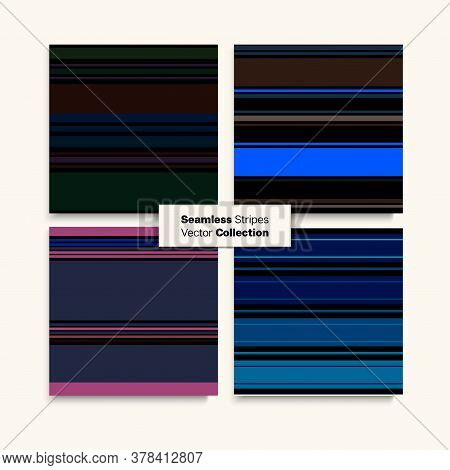Sailor Stripes Seamless Pattern Set. Business Suit Lines Summer Spring Elegant Fashion Textile. Vint