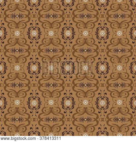 Modern Batik For Indonesian Clothes With Flower Patterns And Mocca Color Design .