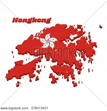 3d Map Outline And Flag Of Hongkong, White Five-petal Bauhinia Blakeana Flower In The Centre Of A Re