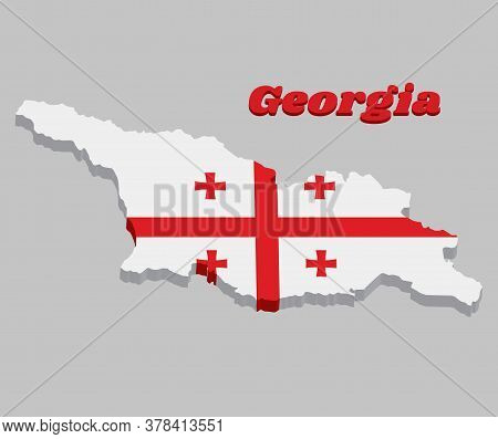 3d Map Outline And Flag Of Georgia, White Rectangle, With In Its Central Portion A Large Red Cross.