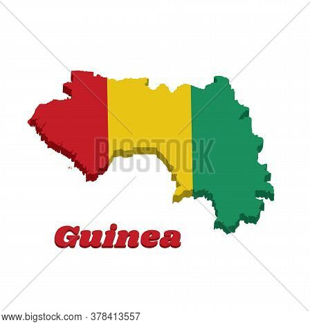 3d Map Outline And Flag Of Guinea, A Vertical Tricolor Of Red Yellow And Green. With Name Text Guine