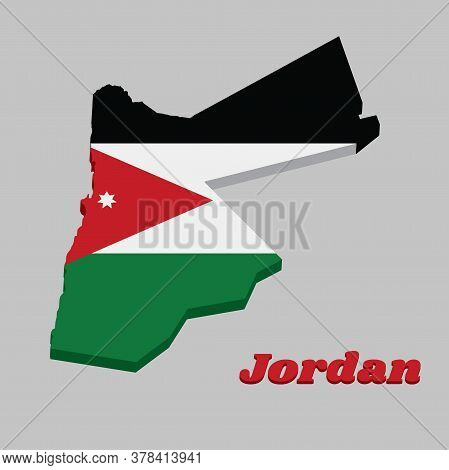 3d Map Outline And Flag Of Jordan, A Horizontal Triband Of Black White And Green; With A Red Chevron