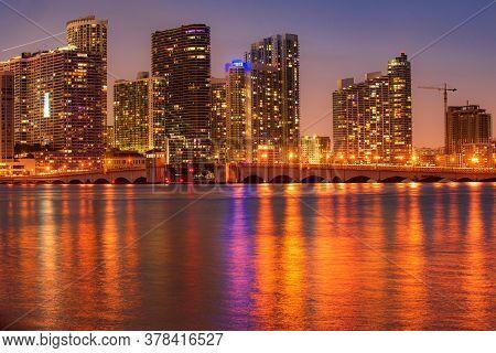 Miami City Skyline Viewed From Biscayne Bay. Miami Skyline