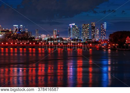 City Of Miami, Night Panorama Of Downtown Business Skyscrapers. Miami Downtown