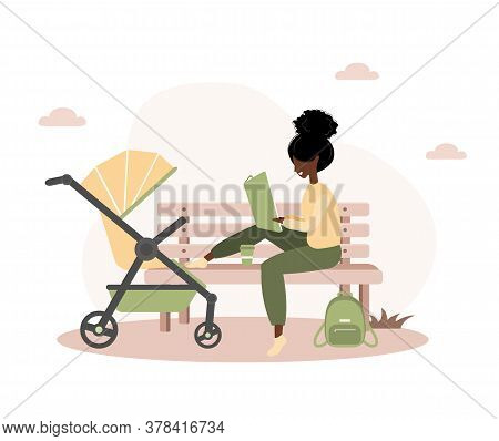Young African American Woman Walking With Her Newborn Child In An Yellow Pram. Girl Sitting With A S