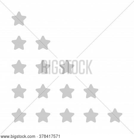 Rating 5 Stars Grey For Review Isolated On White, Five Stars For Ranking Award, Stars For Choice Qua