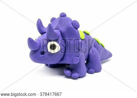 Play Dough Triceratopson On White Background. Jurassic