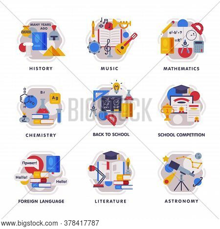 School Subjects Icons Set, Education And Science Disciplines With Related Elements Flat Style Vector