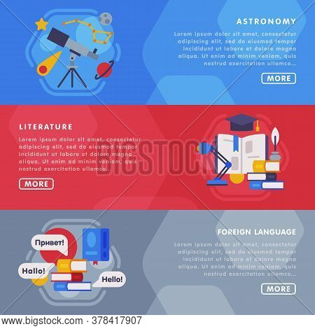 Education And Learning Landing Page Templates Set, Back To School Concept, Astronomy, Literature, Fo