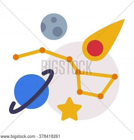 Astronomy Lesson Symbols, Education, Schooling And Learning Elements, Back To School Concept Flat St