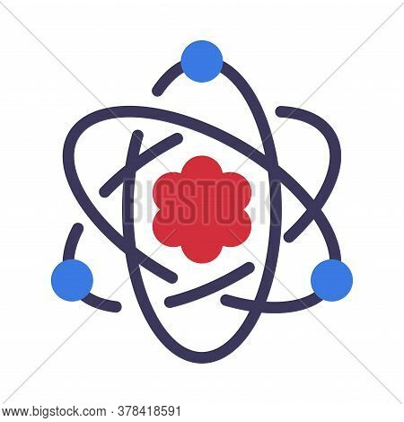 Atom, Electrons Rotating In Orbits Around Atomic Nucleus, Science, Education, Scientific Research Sy