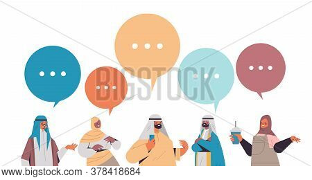 Arabic People Discussing During Meeting Chat Bubble Communication Digital Detox Concept Arab Arab Me