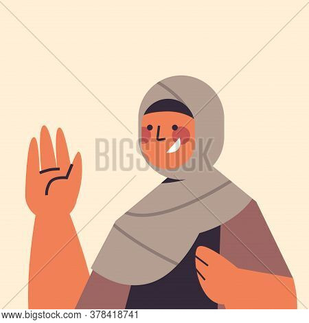 Arabic Woman In Traditional Clothes Waving Habd Smiling Arab Girl Avatar Female Cartoon Character Po
