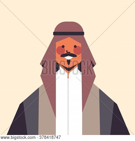 Arabic Man In Traditional Clothes Smiling Arab Guy Avatar Male Cartoon Character Portrait Vector Ill