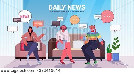 Friends Discussing Daily News During Meeting Chat Bubble Communication Concept Women Spending Time T
