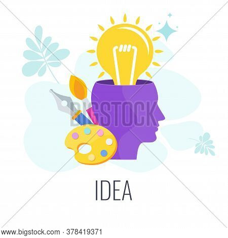 Lamp Pops Out Of The Human Head. Think Outside The Box Creative Idea. Idea To Achieve The Goal, For