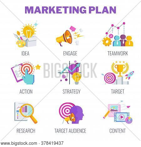 Marketing Plan Icons. Marketing Mix Infographic Flat Vector Illustration. Strategy And Management. S