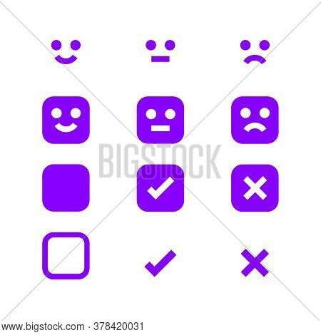 Purple Glowing Icon Emotions Face, Emotional Symbol And Approval Check Sign Button, Emotion Faces An