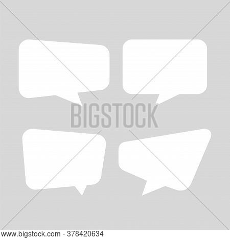 White Speech Bubble Square Isolated On Grey Soft, Balloon Message Icon For Chat And Talk Speak, Spee