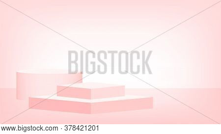 3d Stage Pedestal Red Pastel Color, Podium Stage Modern For Product Placement Or Presentation
