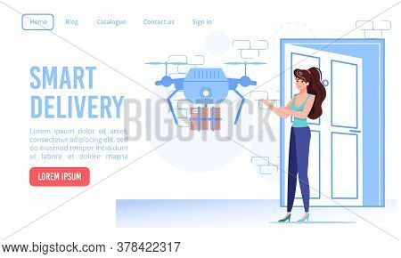 Smart Drone Safe And Fast Air Doorway Delivery Service Landing Page. Autonomous Quadcopter Deliverin