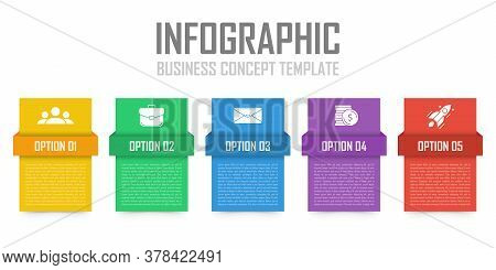 Business Infographic Concept. Template With 5 Steps Or Options. Design Can Be Used For Diagram, Info