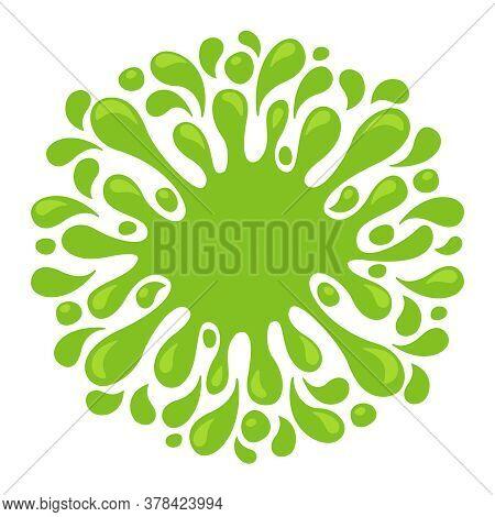 Water Drop Lemon Green Juice Splash Shape, Water Blob Green Apple Flat Icon Isolated On White, Green