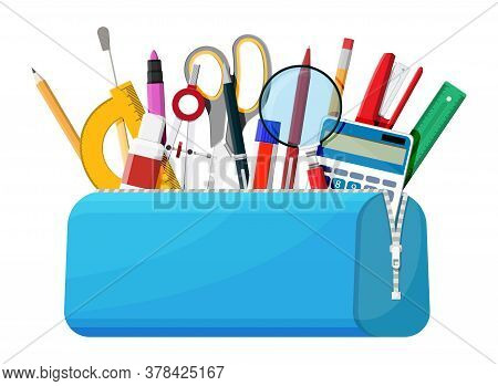 Open Pencil Case With Zipper Full Of Stationery Items. Blue Bag With Supplies. Back To School Concep