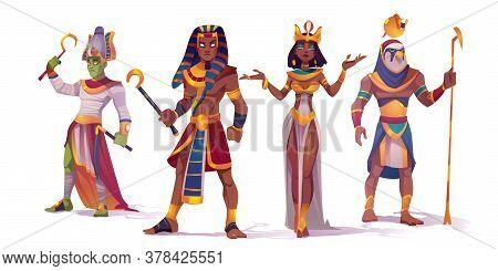Ancient Egyptian God Amun, Osiris, Pharaoh And Cleopatra. Vector Cartoon Characters Of Egypt Mytholo