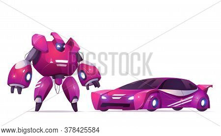 Robot Transformer And Sports Car, Robotics And Artificial Intelligence Technologies Cyborg, Military