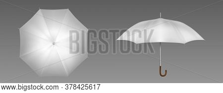 White Umbrella Front And Top View. Vector Realistic Mockup Of Blank Parasol With Wooden Handle, Clas