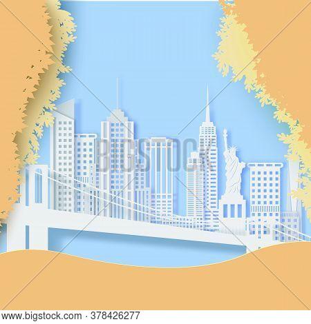 New York In Autumn Season Landscape In Paper Cut Style. Cut Out American Skyscraper, Bridge, Statue