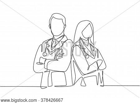 One Continuous Single Line Drawing Of Young Couple Male And Female Doctors Pose Standing Together Wh