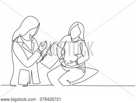 Single Continuous Single Line Drawing Of Young Female Doctor Examining Patient Who Complain About Co