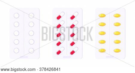 Pill Blister Set With Capsules Flat Style Design Vector Illustration Isolated On White Background. M