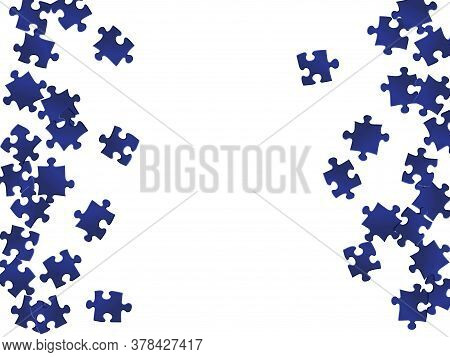Abstract Brainteaser Jigsaw Puzzle Dark Blue Parts Vector Illustration. Top View Of Puzzle Pieces Is